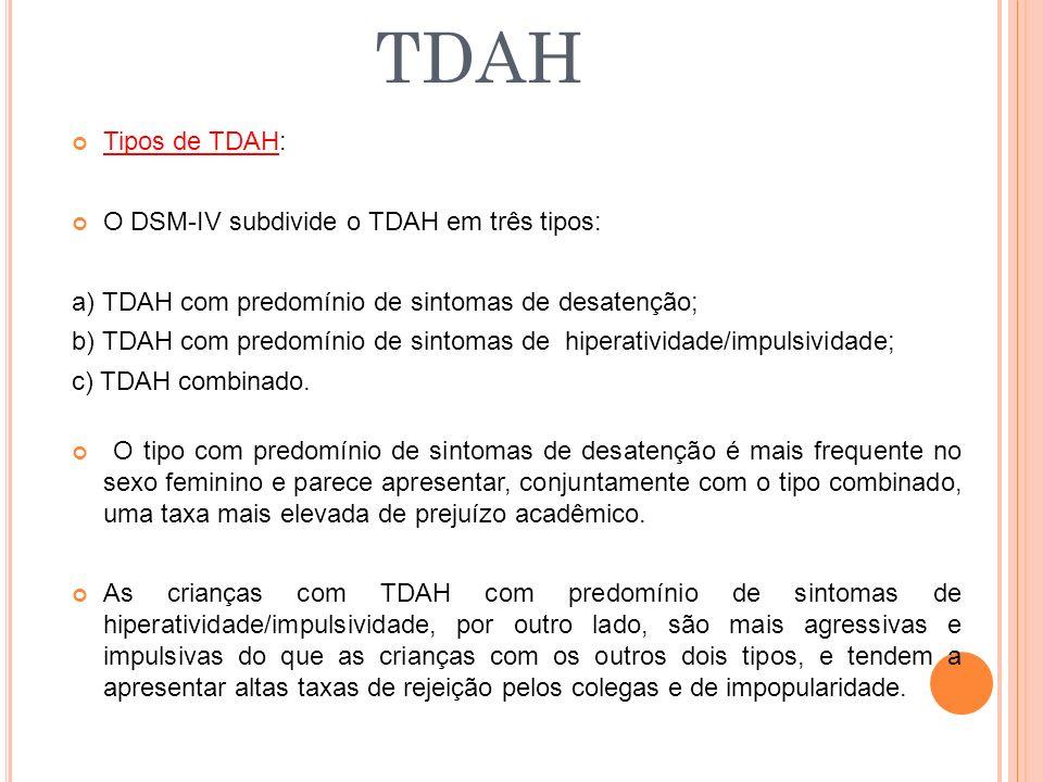 Tipos de TDAH: O DSM-IV subdivide o TDAH em três tipos: a) TDAH com predomínio de sintomas de desatenção; b) TDAH com predomínio de sintomas de hiperatividade/impulsividade; c) TDAH combinado.
