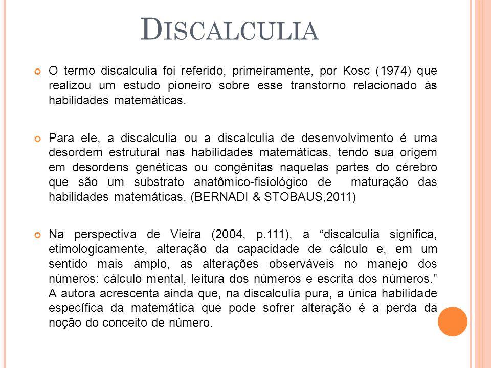 O termo discalculia foi referido, primeiramente, por Kosc (1974) que realizou um estudo pioneiro sobre esse transtorno relacionado às habilidades matemáticas.