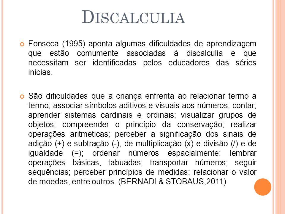 Fonseca (1995) aponta algumas dificuldades de aprendizagem que estão comumente associadas à discalculia e que necessitam ser identificadas pelos educadores das séries inicias.