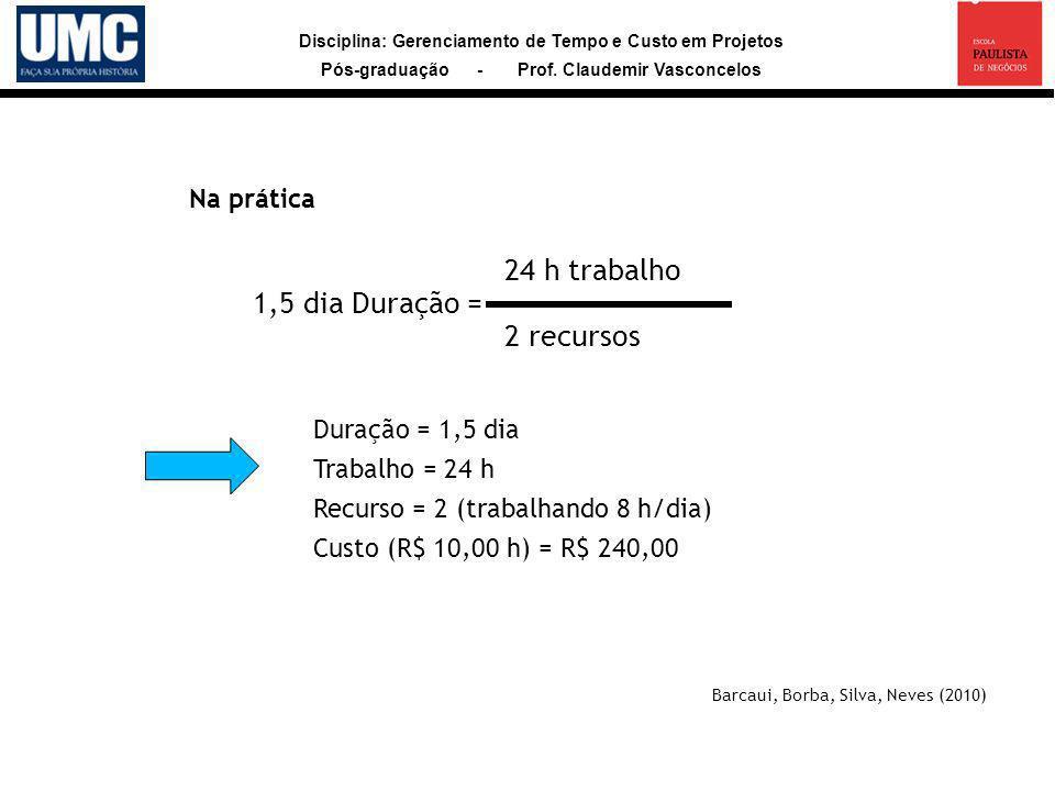 Disciplina: Gerenciamento de Tempo e Custo em Projetos Pós-graduação - Prof. Claudemir Vasconcelos Barcaui, Borba, Silva, Neves (2010) Na prática 1,5