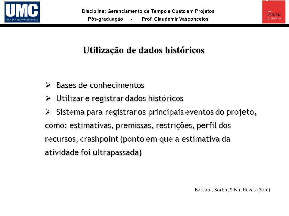 Disciplina: Gerenciamento de Tempo e Custo em Projetos Pós-graduação - Prof. Claudemir Vasconcelos Bases de conhecimentos Bases de conhecimentos Utili