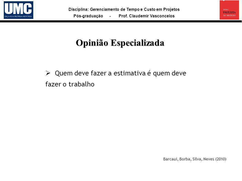 Disciplina: Gerenciamento de Tempo e Custo em Projetos Pós-graduação - Prof. Claudemir Vasconcelos Quem deve fazer a estimativa é quem deve fazer o tr