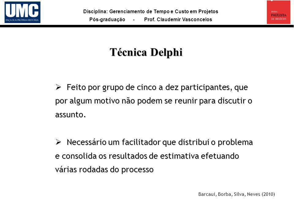 Disciplina: Gerenciamento de Tempo e Custo em Projetos Pós-graduação - Prof. Claudemir Vasconcelos Feito por grupo de cinco a dez participantes, que p
