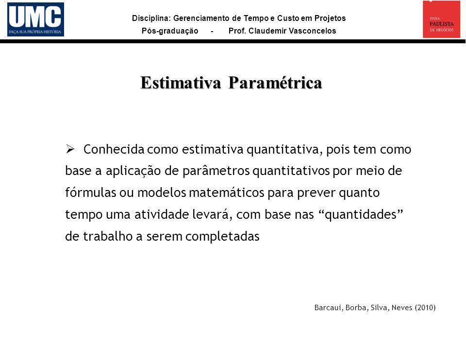 Disciplina: Gerenciamento de Tempo e Custo em Projetos Pós-graduação - Prof. Claudemir Vasconcelos Conhecida como estimativa quantitativa, pois tem co