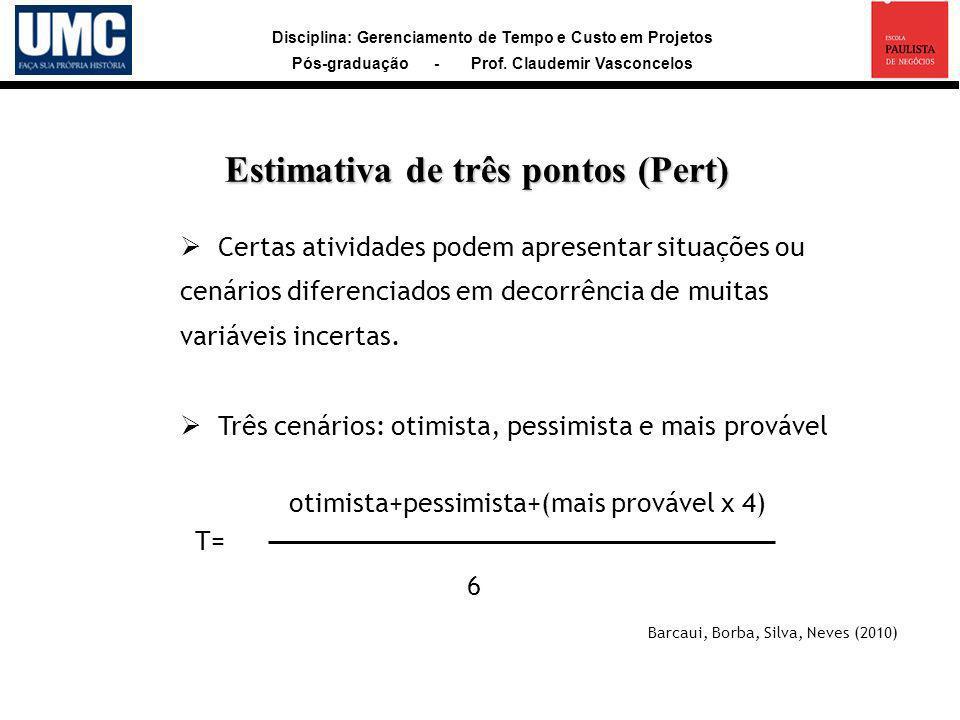 Disciplina: Gerenciamento de Tempo e Custo em Projetos Pós-graduação - Prof. Claudemir Vasconcelos Certas atividades podem apresentar situações ou cen