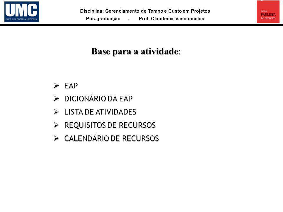 Disciplina: Gerenciamento de Tempo e Custo em Projetos Pós-graduação - Prof. Claudemir Vasconcelos Base para a atividade: EAP EAP DICIONÁRIO DA EAP DI