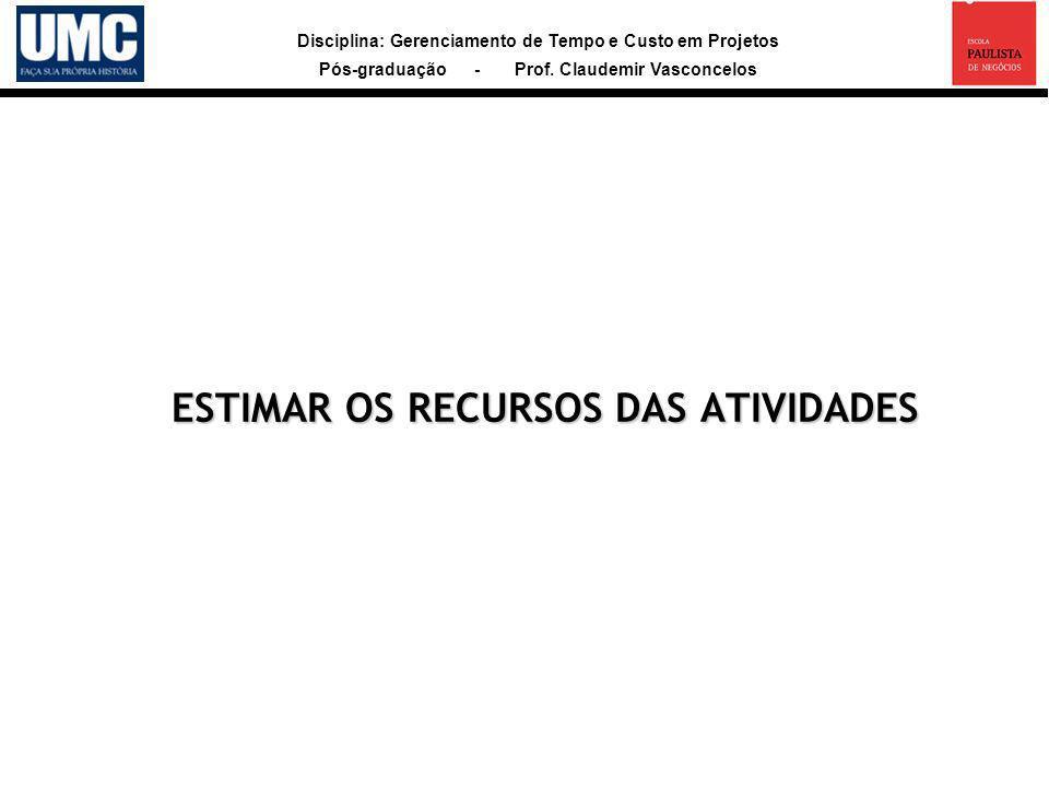 Disciplina: Gerenciamento de Tempo e Custo em Projetos Pós-graduação - Prof. Claudemir Vasconcelos ESTIMAR OS RECURSOS DAS ATIVIDADES