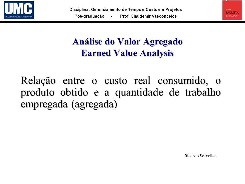 Disciplina: Gerenciamento de Tempo e Custo em Projetos Pós-graduação - Prof. Claudemir Vasconcelos Análise do Valor Agregado Earned Value Analysis Rel