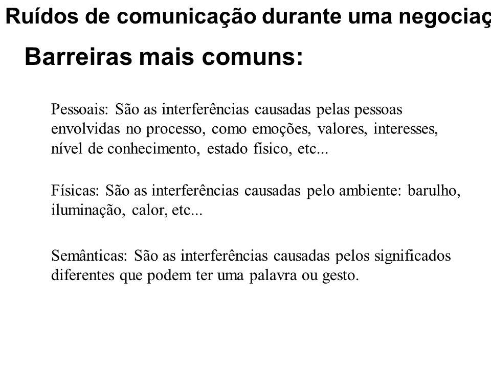 Ruídos de comunicação durante uma negociação Barreiras mais comuns: Pessoais: São as interferências causadas pelas pessoas envolvidas no processo, com