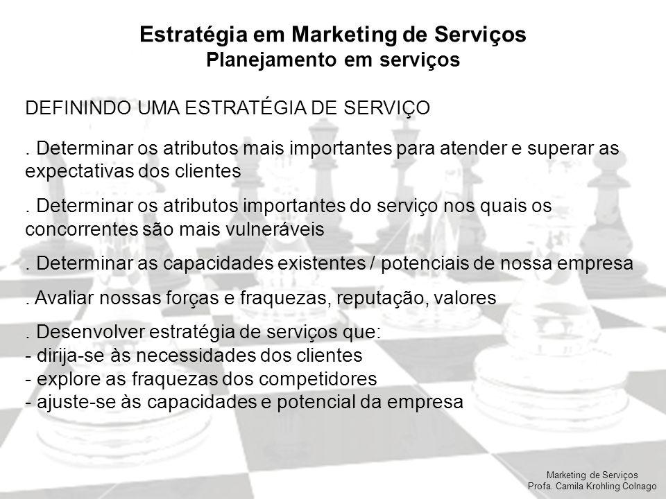 Marketing de Serviços Profa. Camila Krohling Colnago Estratégia em Marketing de Serviços Planejamento em serviços DEFININDO UMA ESTRATÉGIA DE SERVIÇO.