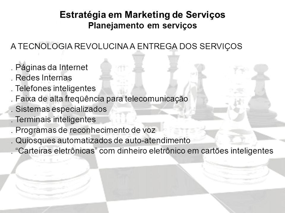 Marketing de Serviços Profa. Camila Krohling Colnago Estratégia em Marketing de Serviços Planejamento em serviços A TECNOLOGIA REVOLUCINA A ENTREGA DO