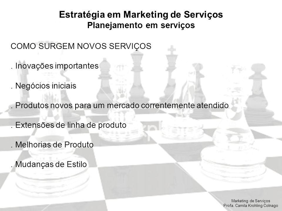 Marketing de Serviços Profa. Camila Krohling Colnago Estratégia em Marketing de Serviços Planejamento em serviços COMO SURGEM NOVOS SERVIÇOS. Inovaçõe
