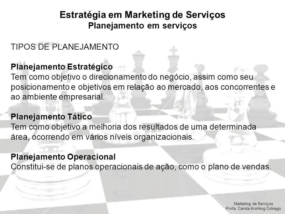Marketing de Serviços Profa. Camila Krohling Colnago Estratégia em Marketing de Serviços Planejamento em serviços TIPOS DE PLANEJAMENTO Planejamento E
