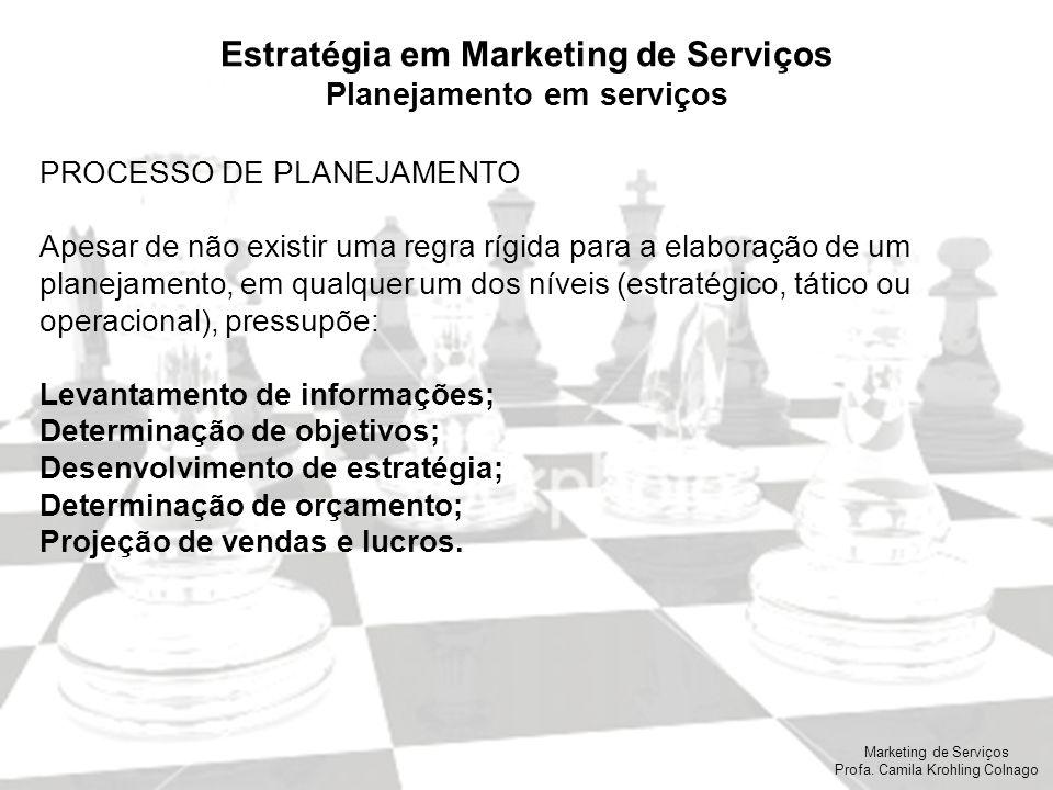 Marketing de Serviços Profa. Camila Krohling Colnago Estratégia em Marketing de Serviços Planejamento em serviços PROCESSO DE PLANEJAMENTO Apesar de n