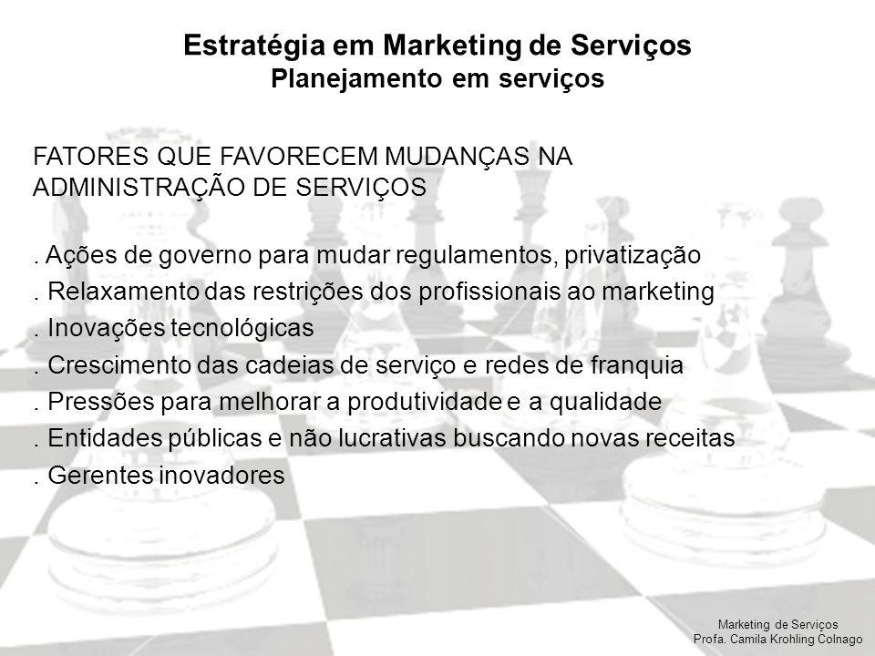 Marketing de Serviços Profa. Camila Krohling Colnago Estratégia em Marketing de Serviços Planejamento em serviços FATORES QUE FAVORECEM MUDANÇAS NA AD