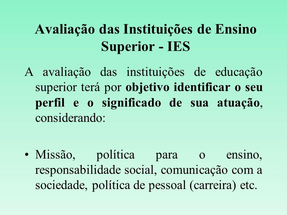 Avaliação das Instituições de Ensino Superior - IES A avaliação das instituições de educação superior terá por objetivo identificar o seu perfil e o s
