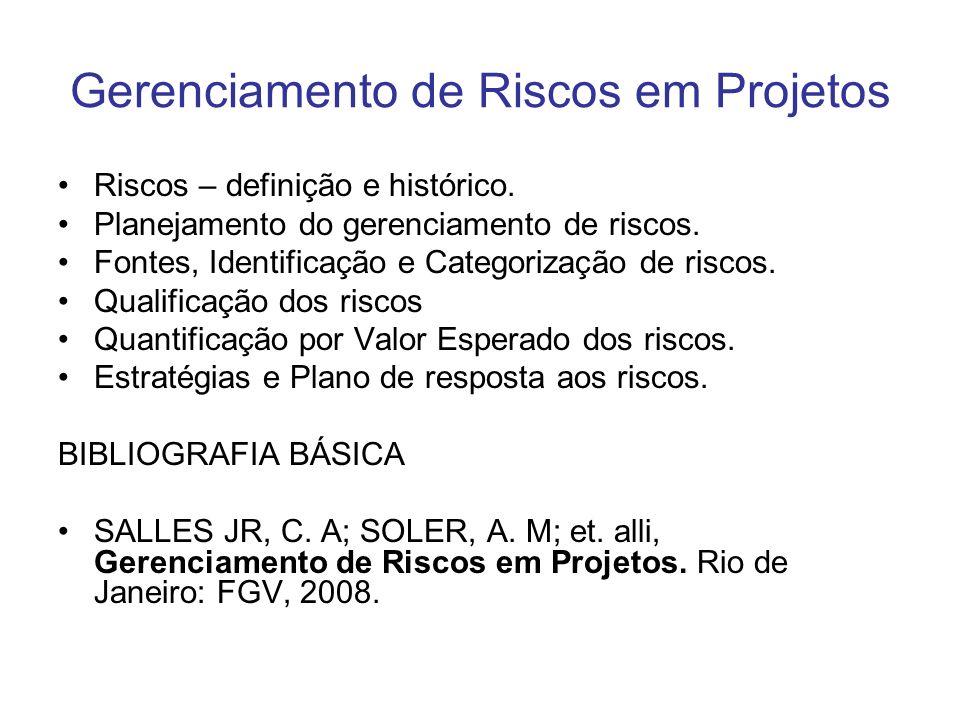 Gerenciamento de Riscos em Projetos Riscos – definição e histórico.