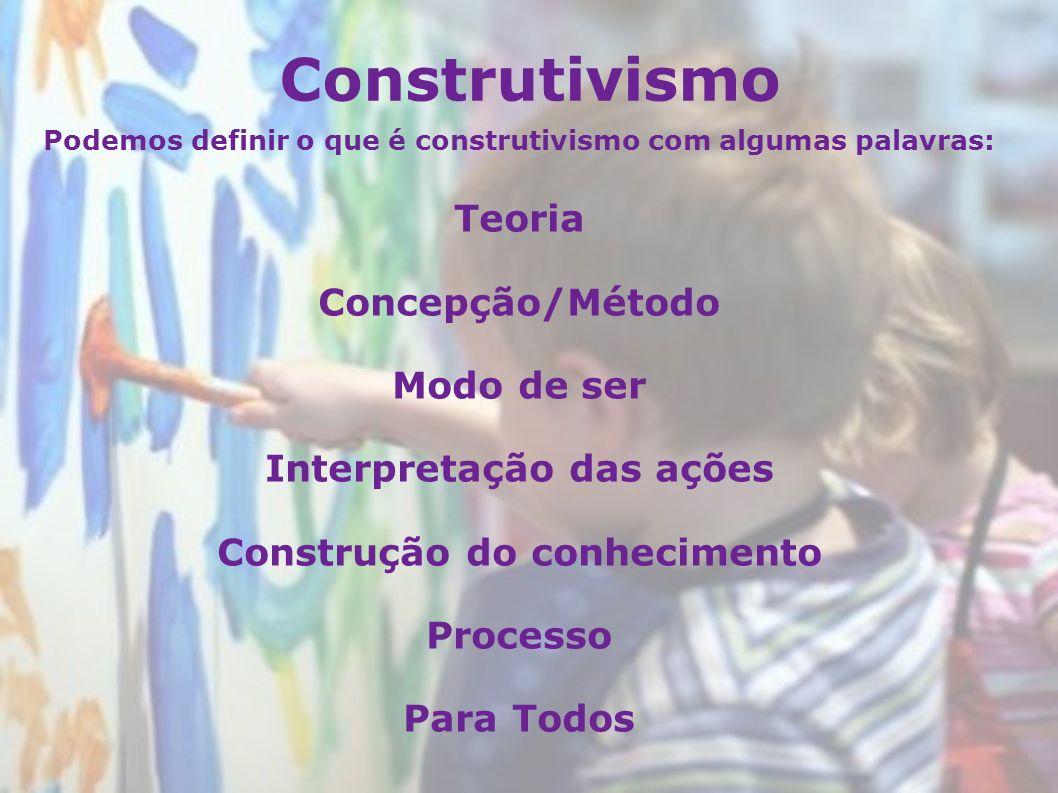 Construtivismo Podemos definir o que é construtivismo com algumas palavras: Teoria Concepção/Método Modo de ser Interpretação das ações Construção do