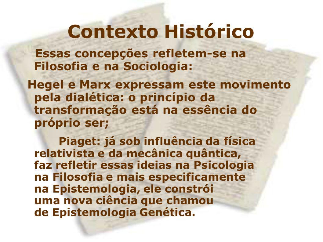 Contexto Histórico Essas concepções refletem-se na Filosofia e na Sociologia: Hegel e Marx expressam este movimento pela dialética: o princípio da tra