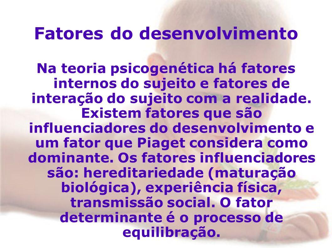 Fatores do desenvolvimento Na teoria psicogenética há fatores internos do sujeito e fatores de interação do sujeito com a realidade. Existem fatores q