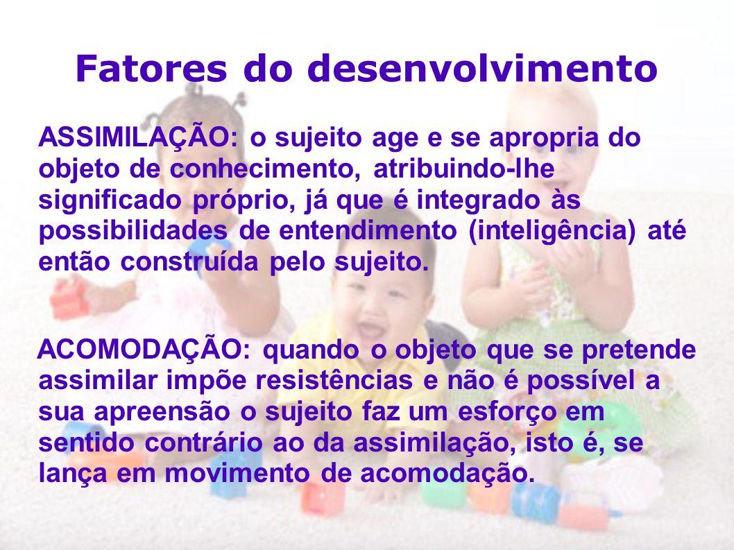 Fatores do desenvolvimento ASSIMILAÇÃO: o sujeito age e se apropria do objeto de conhecimento, atribuindo-lhe significado próprio, já que é integrado