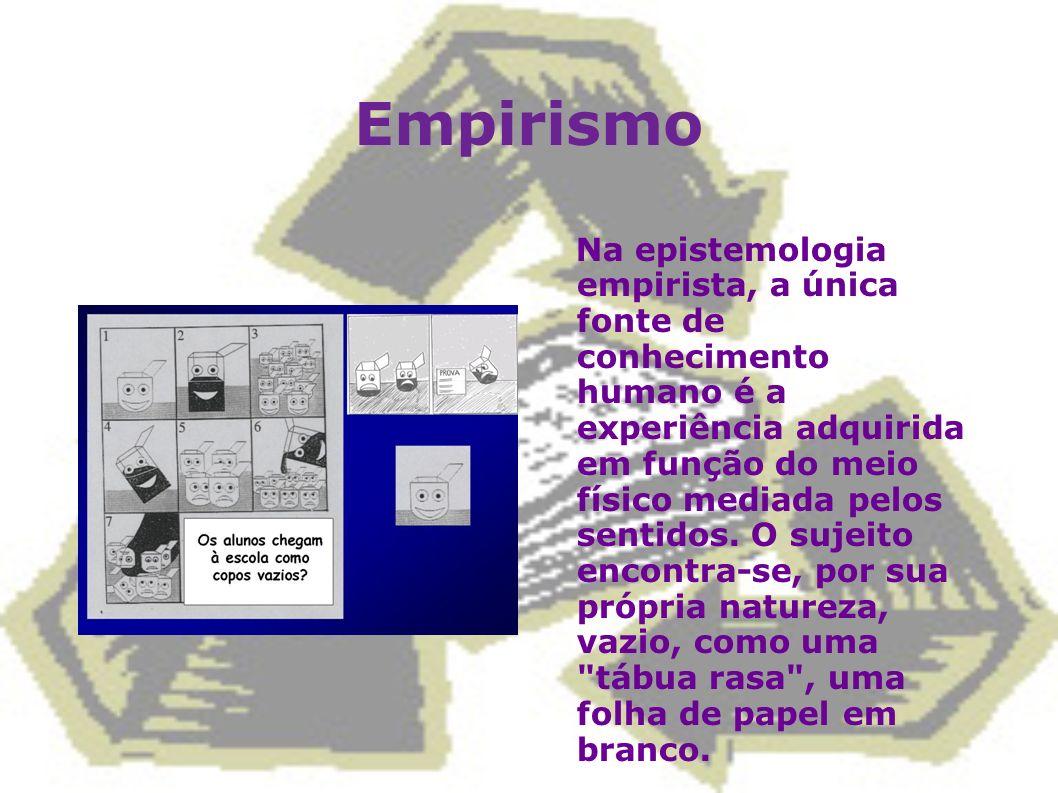 Empirismo Na epistemologia empirista, a única fonte de conhecimento humano é a experiência adquirida em função do meio físico mediada pelos sentidos.