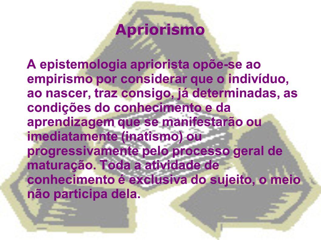 Apriorismo A epistemologia apriorista opõe-se ao empirismo por considerar que o indivíduo, ao nascer, traz consigo, já determinadas, as condições do c