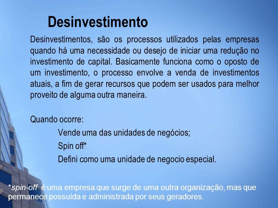 Desinvestimento Desinvestimentos, são os processos utilizados pelas empresas quando há uma necessidade ou desejo de iniciar uma redução no investiment