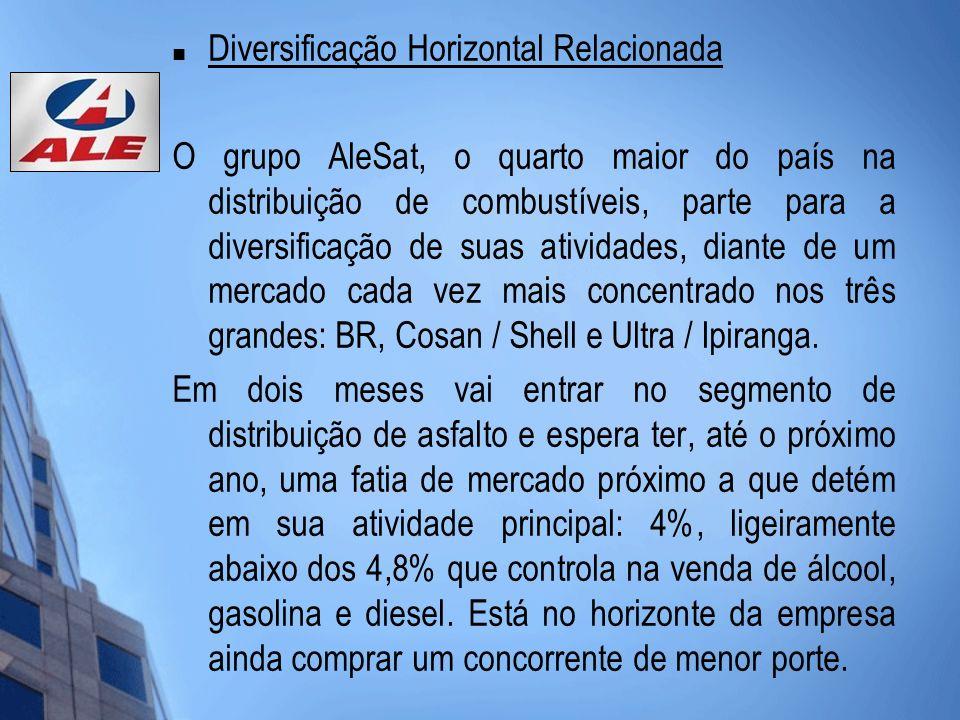 Diversificação Horizontal Relacionada O grupo AleSat, o quarto maior do país na distribuição de combustíveis, parte para a diversificação de suas ativ