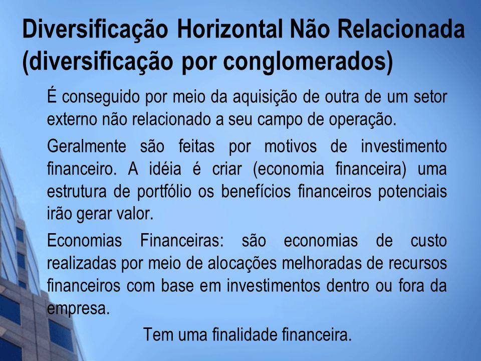 Diversificação Horizontal Não Relacionada (diversificação por conglomerados) É conseguido por meio da aquisição de outra de um setor externo não relac