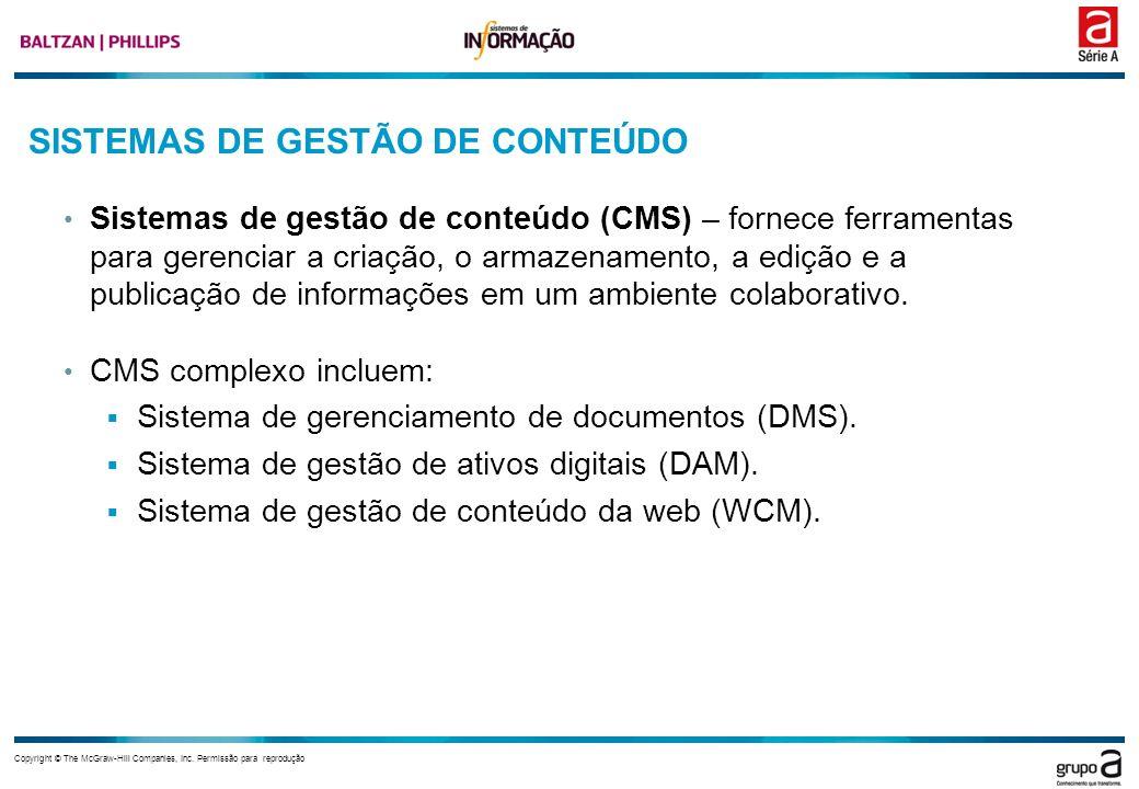 Copyright © The McGraw-Hill Companies, Inc. Permissão para reprodução SISTEMAS DE GESTÃO DE CONTEÚDO Sistemas de gestão de conteúdo (CMS) – fornece fe