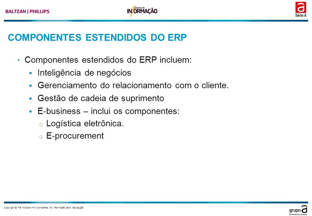Copyright © The McGraw-Hill Companies, Inc. Permissão para reprodução COMPONENTES ESTENDIDOS DO ERP Componentes estendidos do ERP incluem: Inteligênci