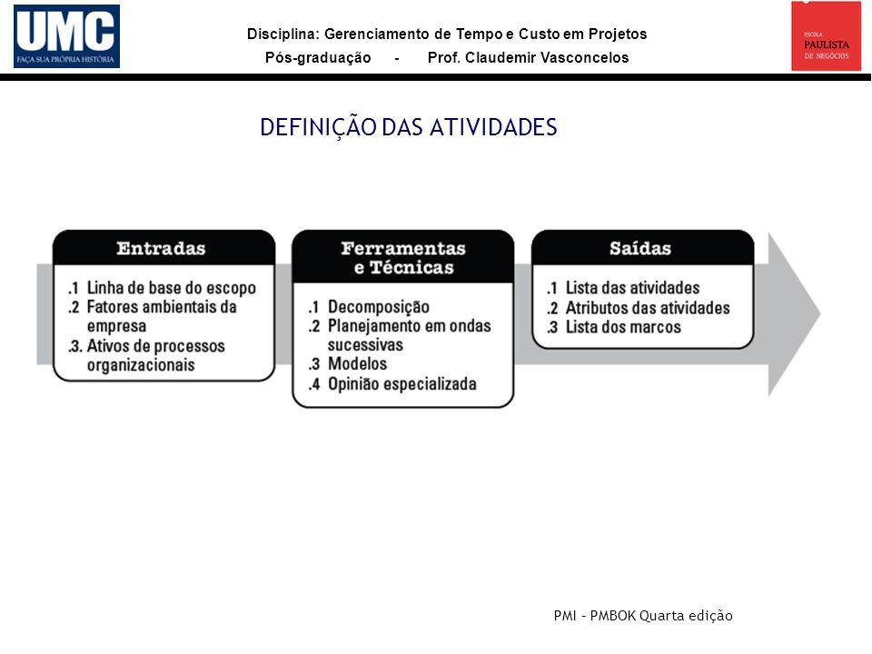 Disciplina: Gerenciamento de Tempo e Custo em Projetos Pós-graduação - Prof. Claudemir Vasconcelos DEFINIÇÃO DAS ATIVIDADES PMI – PMBOK Quarta edição