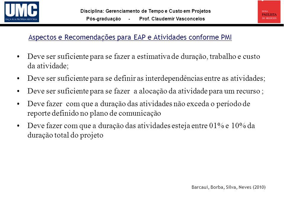 Disciplina: Gerenciamento de Tempo e Custo em Projetos Pós-graduação - Prof. Claudemir Vasconcelos Aspectos e Recomendações para EAP e Atividades conf