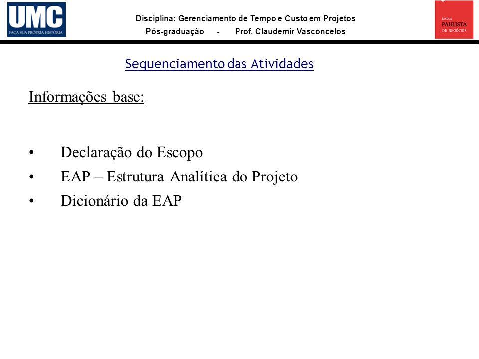 Disciplina: Gerenciamento de Tempo e Custo em Projetos Pós-graduação - Prof. Claudemir Vasconcelos Sequenciamento das Atividades Informações base: Dec