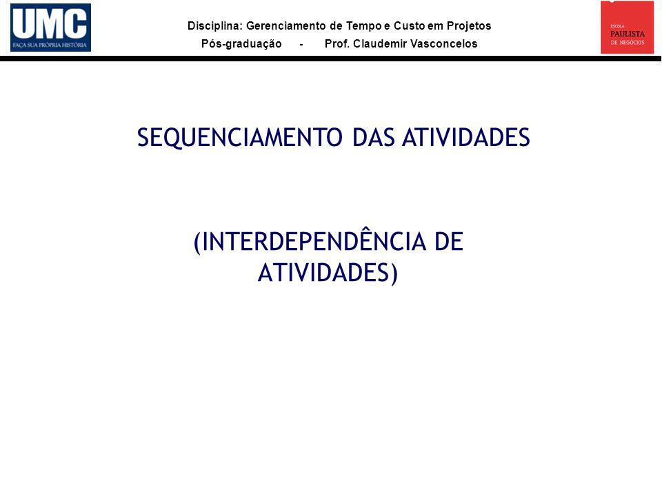 Disciplina: Gerenciamento de Tempo e Custo em Projetos Pós-graduação - Prof. Claudemir Vasconcelos (INTERDEPENDÊNCIA DE ATIVIDADES) SEQUENCIAMENTO DAS