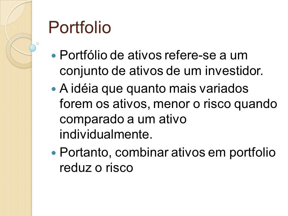 Portfolio Portfólio de ativos refere-se a um conjunto de ativos de um investidor. A idéia que quanto mais variados forem os ativos, menor o risco quan