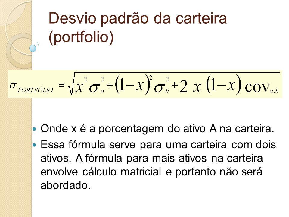 Desvio padrão da carteira (portfolio) Onde x é a porcentagem do ativo A na carteira. Essa fórmula serve para uma carteira com dois ativos. A fórmula p