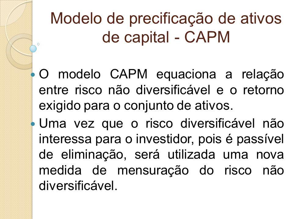 Modelo de precificação de ativos de capital - CAPM O modelo CAPM equaciona a relação entre risco não diversificável e o retorno exigido para o conjunt