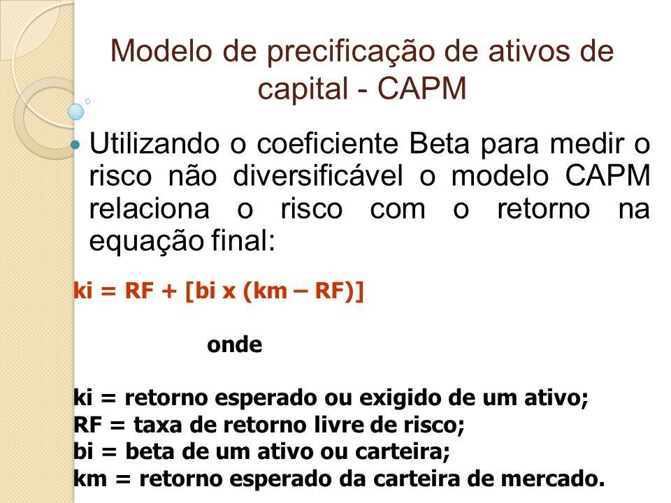Modelo de precificação de ativos de capital - CAPM Utilizando o coeficiente Beta para medir o risco não diversificável o modelo CAPM relaciona o risco