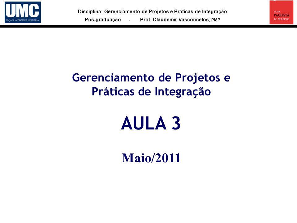 Disciplina: Gerenciamento de Projetos e Práticas de Integração Pós-graduação - Prof. Claudemir Vasconcelos, PMP Gerenciamento de Projetos e Práticas d