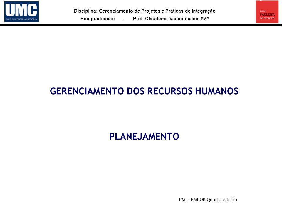 Disciplina: Gerenciamento de Projetos e Práticas de Integração Pós-graduação - Prof. Claudemir Vasconcelos, PMP GERENCIAMENTO DOS RECURSOS HUMANOS PLA