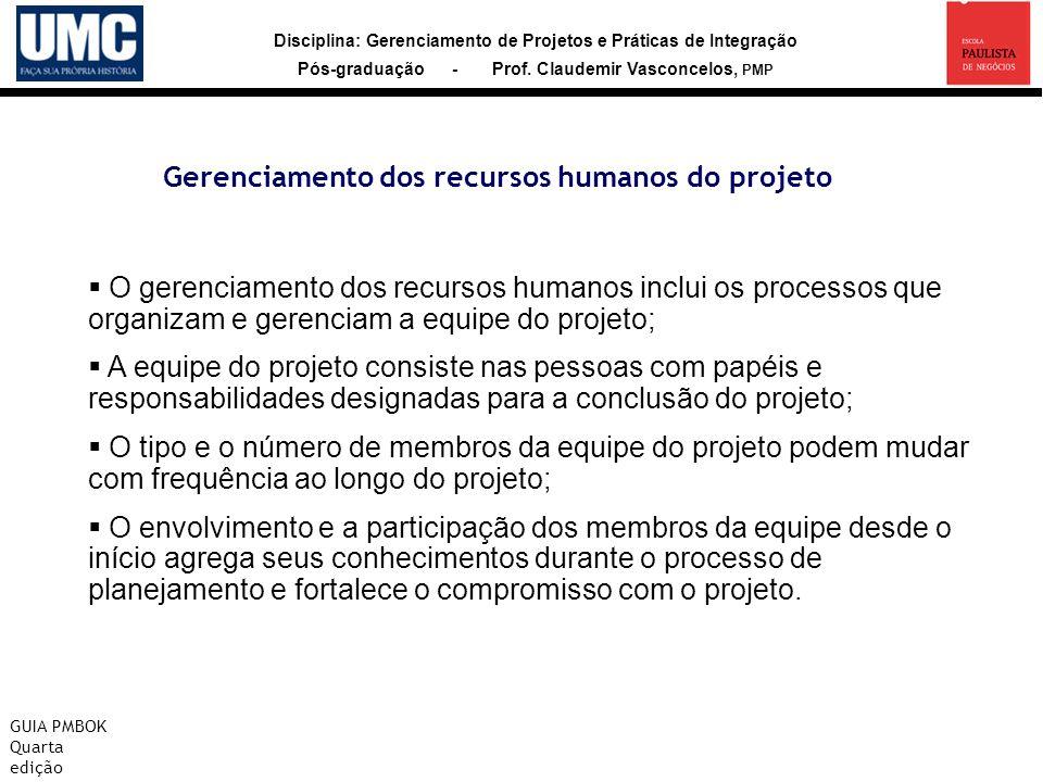 Disciplina: Gerenciamento de Projetos e Práticas de Integração Pós-graduação - Prof. Claudemir Vasconcelos, PMP Gerenciamento dos recursos humanos do