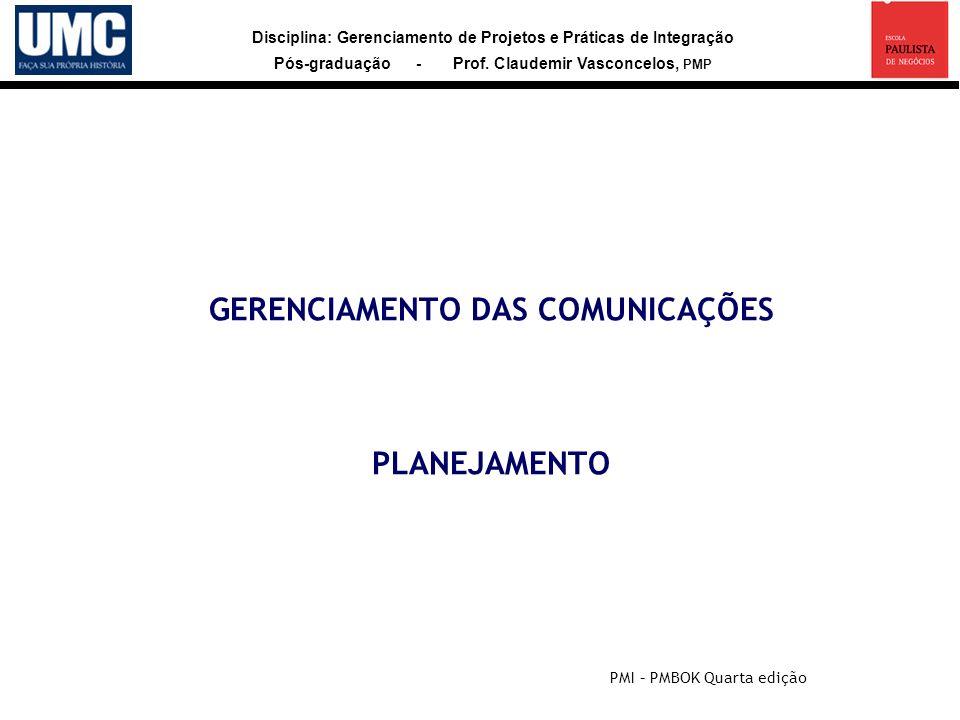 Disciplina: Gerenciamento de Projetos e Práticas de Integração Pós-graduação - Prof. Claudemir Vasconcelos, PMP GERENCIAMENTO DAS COMUNICAÇÕES PLANEJA