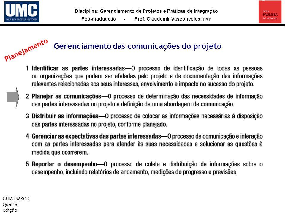 Disciplina: Gerenciamento de Projetos e Práticas de Integração Pós-graduação - Prof. Claudemir Vasconcelos, PMP Gerenciamento das comunicações do proj