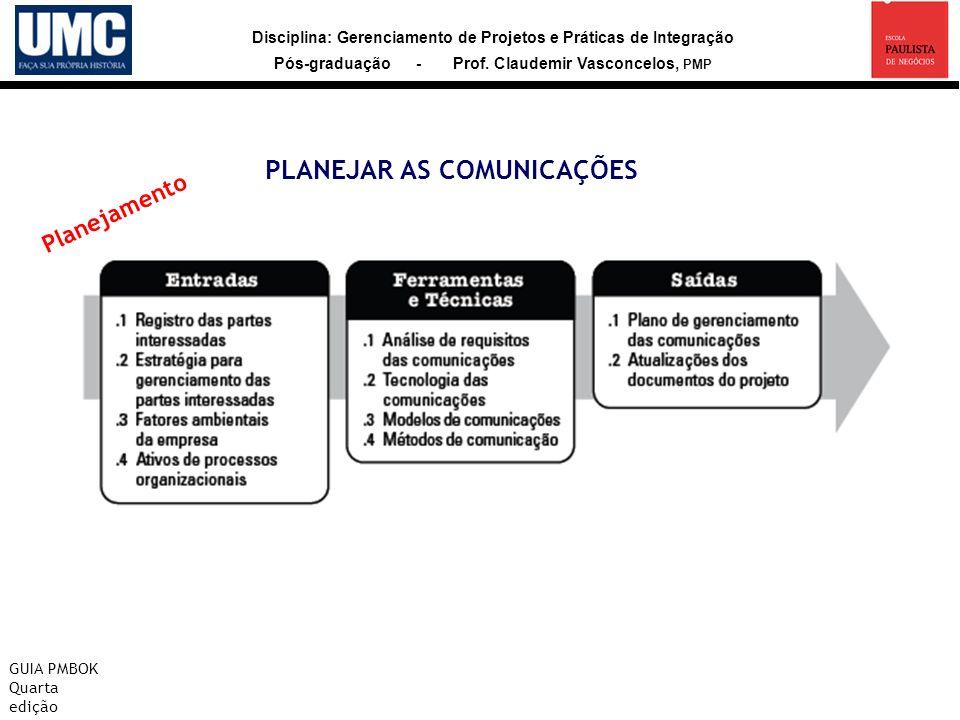 Disciplina: Gerenciamento de Projetos e Práticas de Integração Pós-graduação - Prof. Claudemir Vasconcelos, PMP PLANEJAR AS COMUNICAÇÕES GUIA PMBOK Qu
