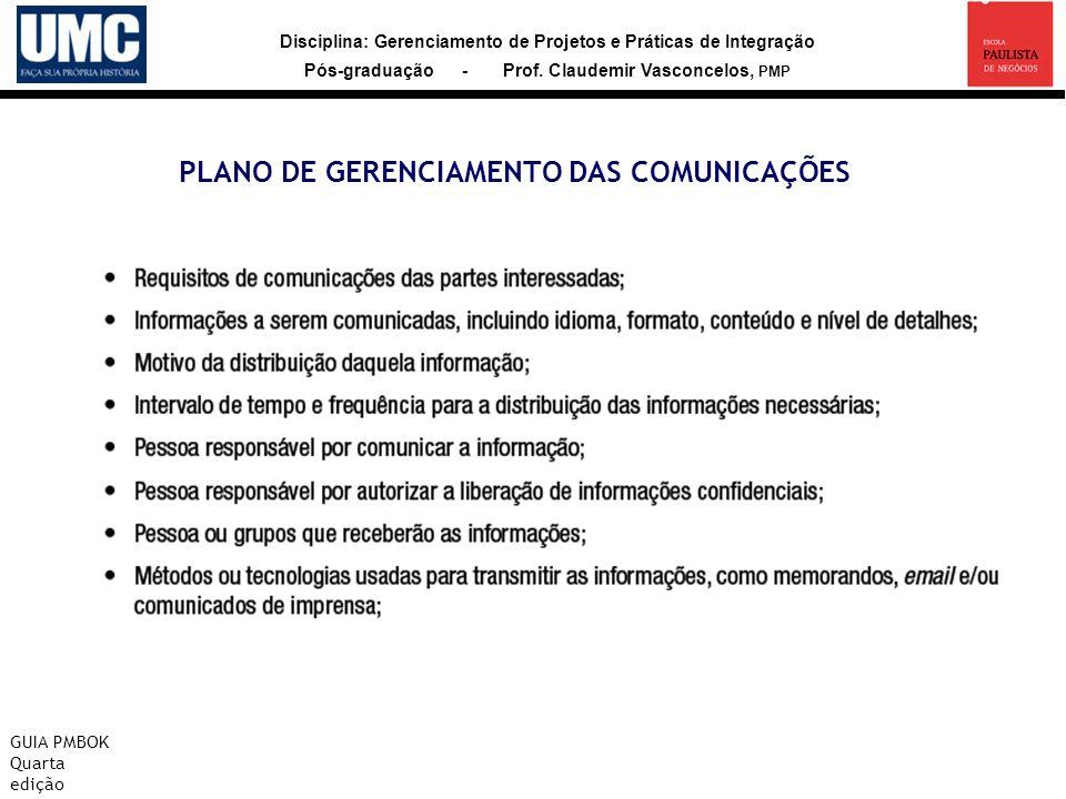 Disciplina: Gerenciamento de Projetos e Práticas de Integração Pós-graduação - Prof. Claudemir Vasconcelos, PMP PLANO DE GERENCIAMENTO DAS COMUNICAÇÕE