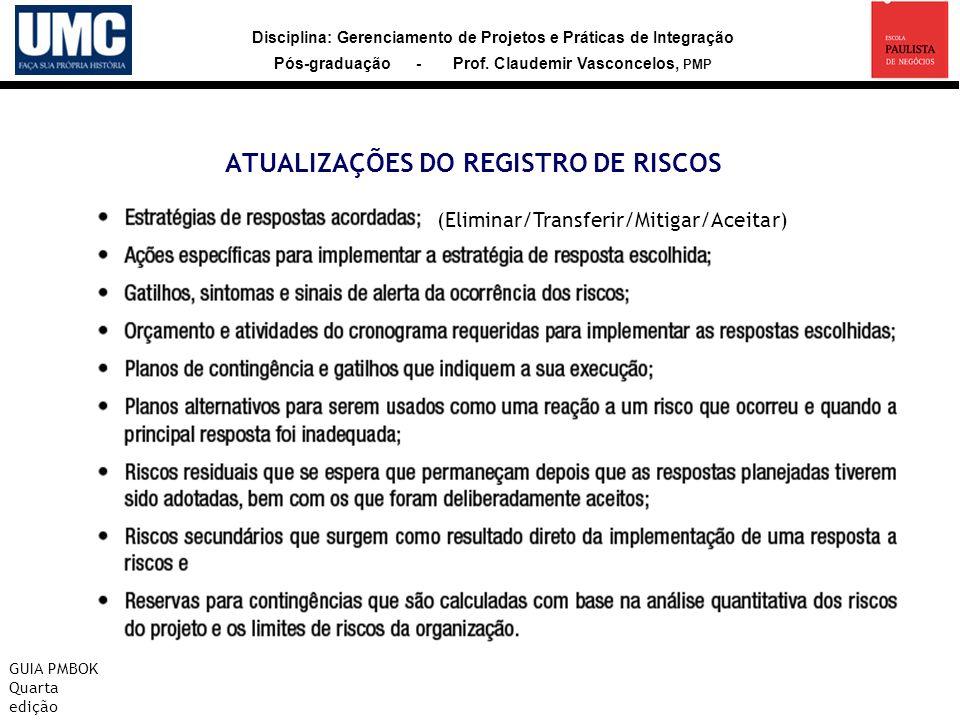 Disciplina: Gerenciamento de Projetos e Práticas de Integração Pós-graduação - Prof. Claudemir Vasconcelos, PMP ATUALIZAÇÕES DO REGISTRO DE RISCOS GUI