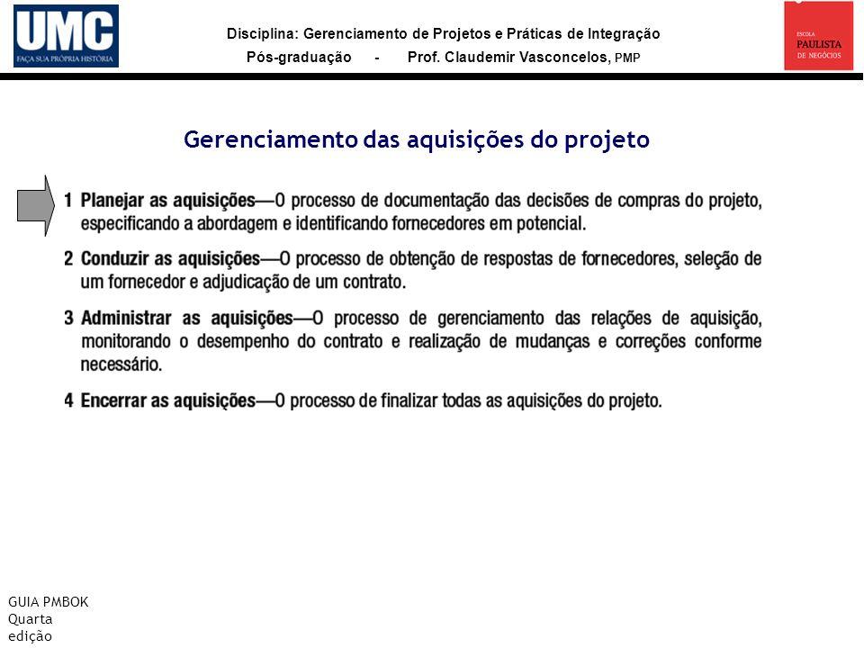 Disciplina: Gerenciamento de Projetos e Práticas de Integração Pós-graduação - Prof. Claudemir Vasconcelos, PMP Gerenciamento das aquisições do projet