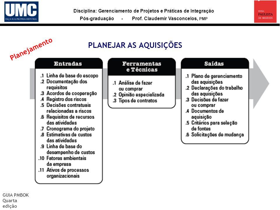 Disciplina: Gerenciamento de Projetos e Práticas de Integração Pós-graduação - Prof. Claudemir Vasconcelos, PMP PLANEJAR AS AQUISIÇÕES GUIA PMBOK Quar